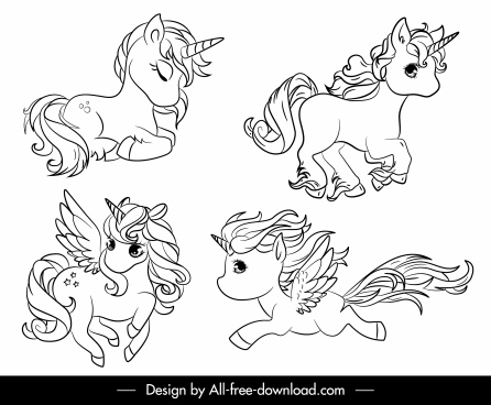 unicorn icon cute sketch black white handdrawn cartoon