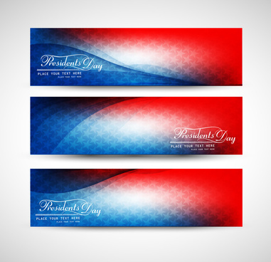 united states of america in president day for beautiful wave header set vector illustration