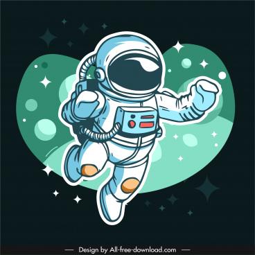 universe astronaut background handdrawn cartoon sketch