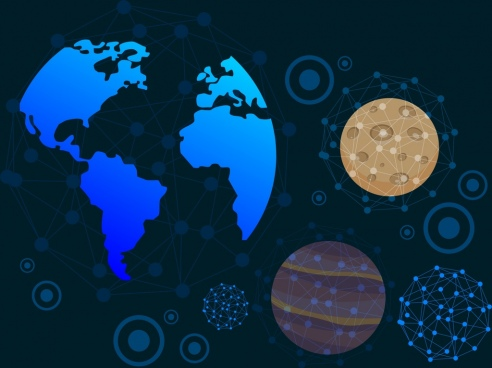 universe background planets icons dots connection design