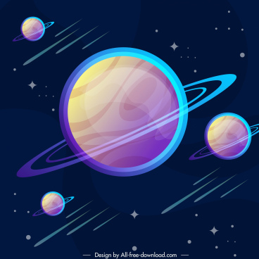 universe background saturn planets sketch modern colorful design