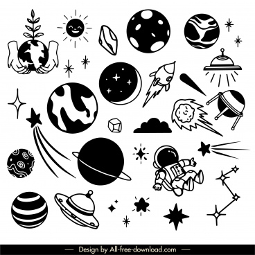 universe elements icons back white handdrawn cosmos symbols