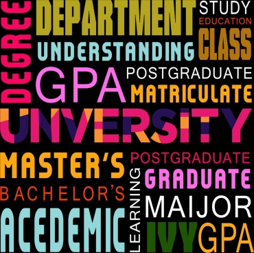 university backdrop colorful capital texts decoration modern design
