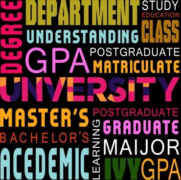 university backdrop colorful capital texts decoration modern design