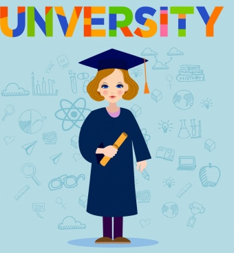 university banner bachelor educational icons colored cartoon