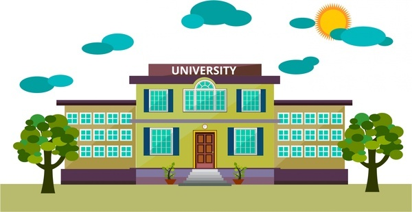 university front design sketch modern colored style