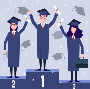 university graduation background students ranks icons