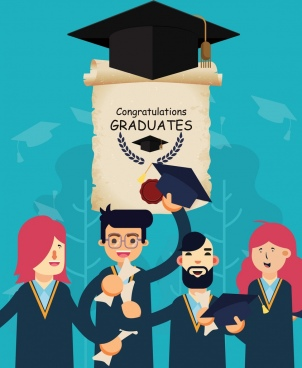 university graduation banner students diploma hat icons decor