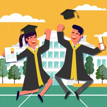 university graduation drawing happy students colored cartoon design