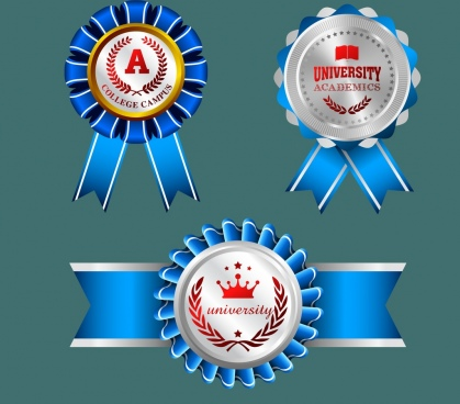 university medal templates shiny blue red decoration