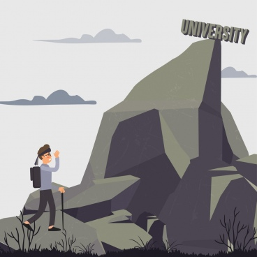 university target drawing male hiker mountain peak icons