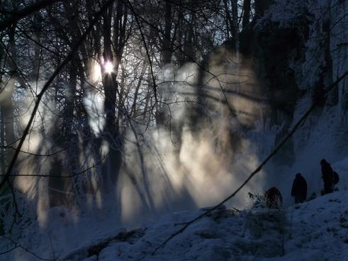 urach waterfall back light fog