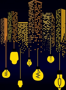 urban background yellow lamps high buildings icons
