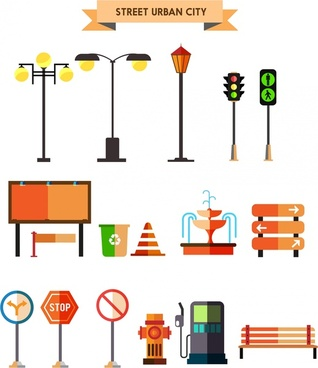 urban design elements in colored symbols isolation