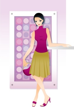 fashion background young woman icon cartoon character design