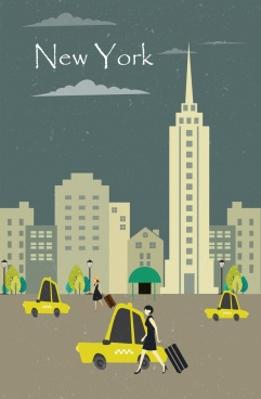 urban life drawing pedestrian taxi icons classical design
