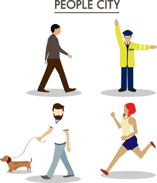 urban people icons design various types in color