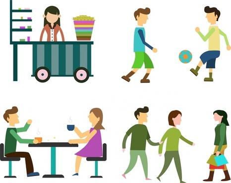 urban people icons with various activities isolation
