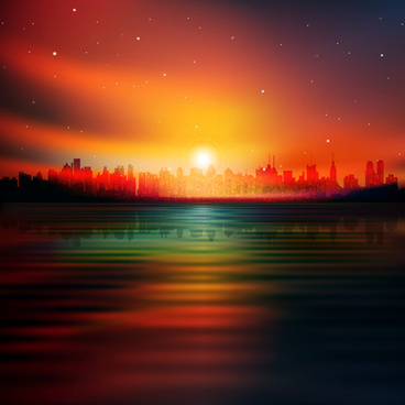 urban sunrise landscape vector