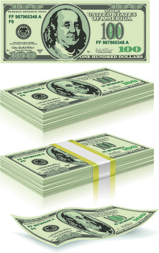 us dollar money pack design vector