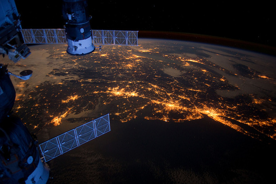 us eastern seaboard at night from the iss
