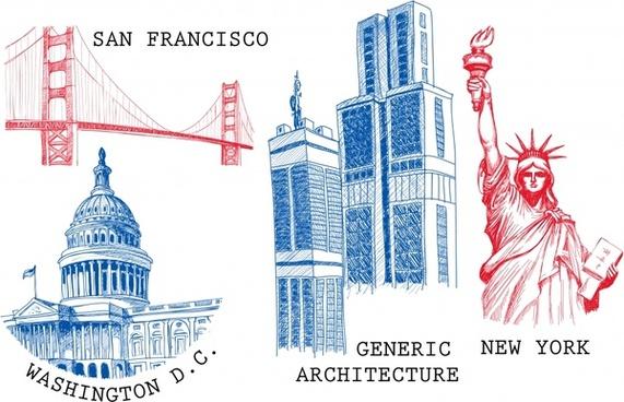 us landmarks vector