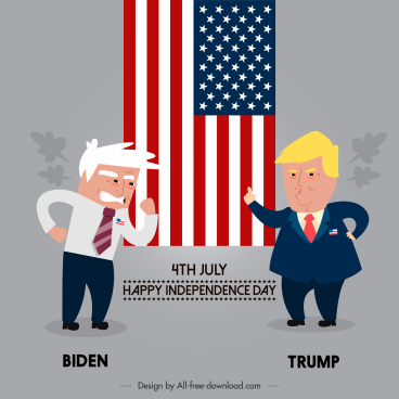 usa election banner comic satiric design cartoon characters