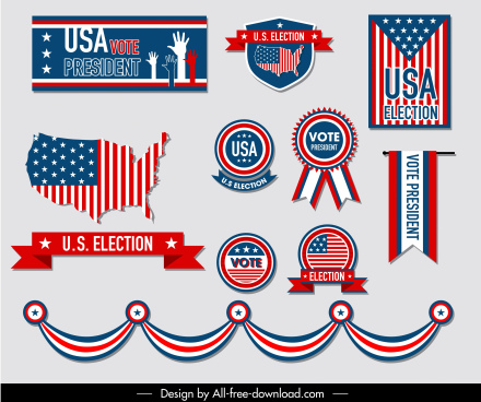usa election design elements flag symbols decor