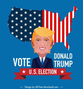 usa election poster president map sketch colorful decor