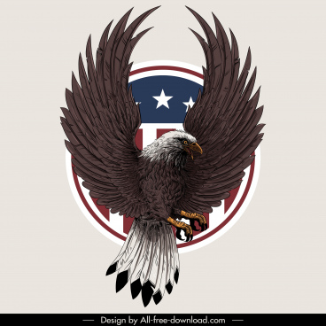 usa insignia template brave eagle sketch realistic design