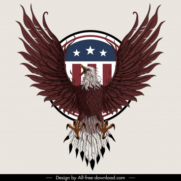 usa insignia template powerful eagle sketch symmetric decor