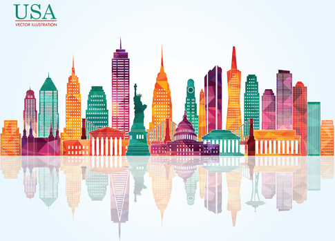 usa landmark building colored vector