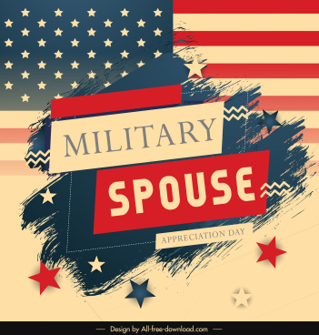usa military spouse banner retro flag elements decor