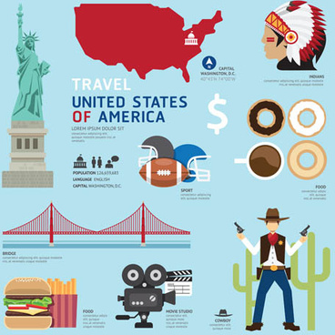 usa tourism elements vector