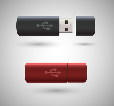 usb realistic vector illustration with color style