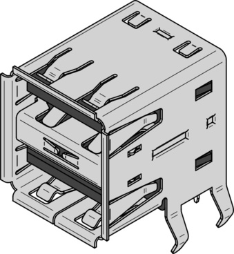 Usb Type A Dual Receptacle clip art