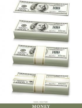 usd cash icons modern 3d realistic design