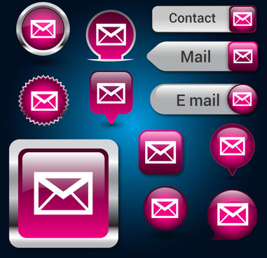 user interface buttons design with email background