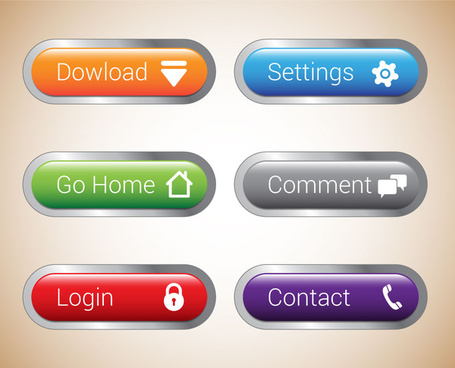user interface buttons sets illustration with horizontal tabs