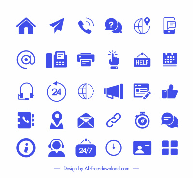 user interface icons collection blue flat symbols sketch