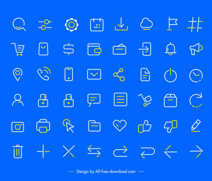 user interface icons collection flat handdrawn sketch