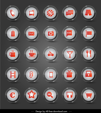 user interface icons collection modern shiny circle design