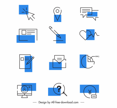 user interface icons flat classical handdrawn symbols