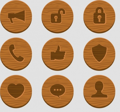 user interface icons flat wooden decor circles isolation