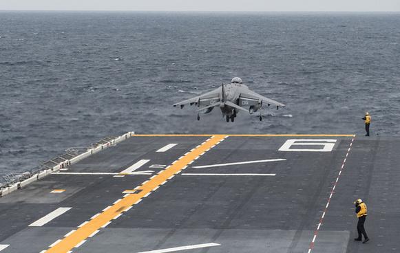 uss bonhomme richard conducts flight operations