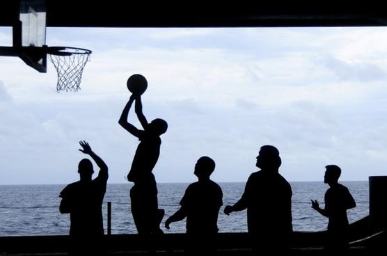 uss nimitz basketball silhouettes