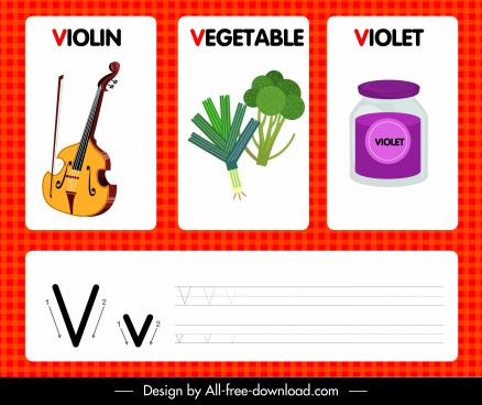 v alphabet background template bright colorful modern design