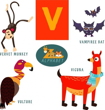 v letter education design with wild animals