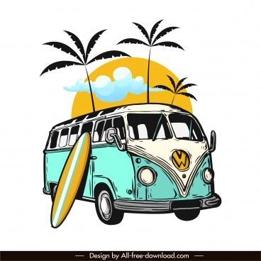 vacation design elements vintage bus coconut surfboard sketch