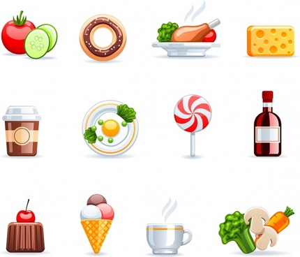 food beverage icons shiny colored modern symbols sketch
